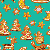 Seamless christmas pattern  - xmas  gingerbread  on blue backgro — Stock Vector