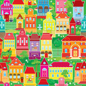 Seamless pattern with decorative colorful houses, spring or summ — Stock Vector