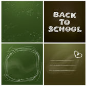 Set of 4 backgrounds - Chalkboard with green and dark brown surf — Stock Vector