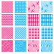 Set of fabric textures in pink and blue colors - seamless patter — Stock Vector #55097333