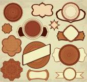 Vintage chocolate labels set in brown and beige colors with orna — Stock Vector
