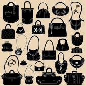 Set of woman bags and handbags. Black and white colors  objects. — Stock Vector