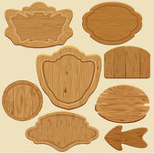Set of different shapes wooden sign boards. — Stock Vector