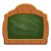 Wooden sign board (chalkboard) - object isolated on white backgr — Stok Vektör