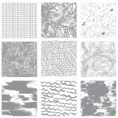 Set of 9 seamless patterns in grunge style. Ready to use as swat — Stock Vector