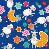 Seamless pattern - sweet dreams - sheep toys, stars and moon are — Stockvector