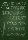 ABC - English alphabet written on a blackboard in white chalk -  — Stock Vector