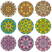 Set of 9 colorful round ornaments, kaleidoscope floral patterns. — Stock Vector