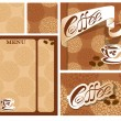Template designs of menu and business card for coffee house  wit — Stock Vector #55479063