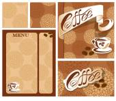 Template designs of menu and business card for coffee house  wit — Stock Vector