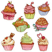 Set of decorated sweet cupcakes - elements for cafe, menu, birth — Stock Vector