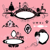 Frames with glamour accessories, furniture, girl portrait  - bla — Stock Vector