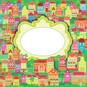 Frame and decorative colorful houses on baskground. Spring or su — Stock Vector