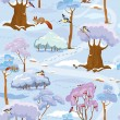 Seamless pattern - Winter Forest Landscape with trees, birds and — Stock Vector #55573595