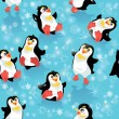 Seamless pattern with funny penguins and snowflakes on blue icy — Vector de stock  #55574979