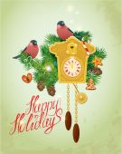 Card with vintage wooden Cuckoo Clock,  xmas gingerbread, candy, — 图库矢量图片