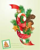 Card with xmas gingerbread, candy and fir-tree branches. Hand wr — 图库矢量图片