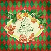 Card of xmas gingerbread - cookies in angel, star, moon, bell, h — Vettoriale Stock