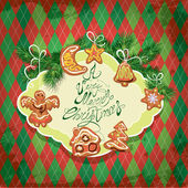 Card of xmas gingerbread - cookies in angel, star, moon, bell, h — 图库矢量图片