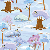 Seamless pattern - Winter Forest Landscape with trees, birds and — Stock Vector