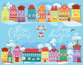 Christmas and New Year holidays card with small fairy town on li — Stock Vector