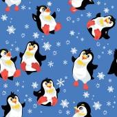 Seamless pattern with funny penguins and snowflakes on blue back — Stock Vector