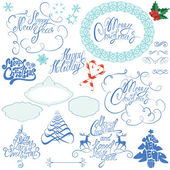 Collection of Christmas and New Year calligraphy handwritten tex — Stock Vector
