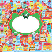 Frame with decorative colorful houses. Christmas and New Year ho — Stock Vector