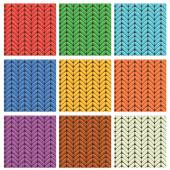 Set of 9 knitted wool colorfull seamless patterns — Stock Vector