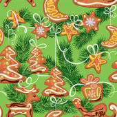 Seamless christmas pattern - xmas gingerbread on green backgroun — Vettoriale Stock