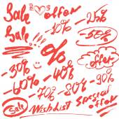 Set of handwritten words sale, special offer and numerals — Stok Vektör