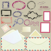 Collection of mail design elements - blank postmarks, stamps and — Stock Vector