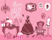 Princess Room with glamour accessories, furniture, cages, gift b — Stock Vector