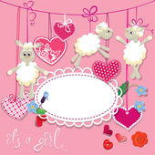 Pink baby shower card with sheep and hearts - design for girls. — Stock Vector