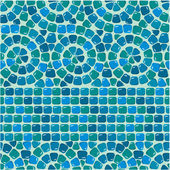 Seamless mosaic pattern - Blue ceramic tile - classical geometri — Stock Vector