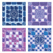 Set of seamless mosaic patterns - Blue and purple ceramic tiles  — Stock Vector