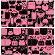 Set of seamless patterns with woman bags and handbags. Ready to — Stock Vector #55758781