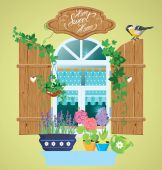 Window and flowers in pots, tomtit bird and handwritten text Hom — Stock Vector