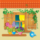 Window and flowers in pots. Summer or spring season. — Stock Vector