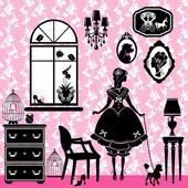 Princess Room with glamour accessories, furniture, cages, pictur — Stock Vector