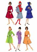 Set of elegant women - retro style fashion models - spring or fa — Stock Vector