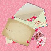 Vintage postcard, envelope, post stamps, paper hearts - Backgrou — Stock Vector