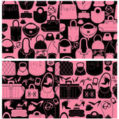 Set of seamless patterns with woman bags and handbags. Ready to  — Stock Vector