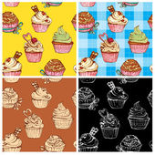 Set of seamless patterns with decorated sweet cupcakes - backgro — Stock Vector