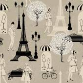 Seamless pattern - Effel Tower, street lights, old fashioned gir — Stock Vector