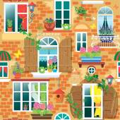 Seamless pattern with Windows and flowers in pots. Summer or spr — Stock Vector