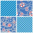 Set of Seamless nautical patterns on blue background with white  — Stock Vector #55776813