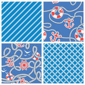Set of Seamless nautical patterns on blue background with white — Stock Vector