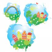 Set of Cartoons fairytale drawing images - houses, trees, rainbo — Stock Vector