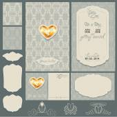 Set of Wedding invitation cards with floral elements, wedding ri — Stok Vektör
